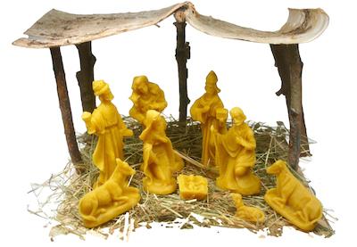 Complete kerststal, middenmaat, 10 figuren